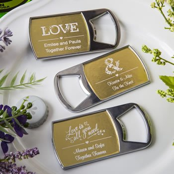 Personalized Wedding Metallics Collection Bottle Openers image