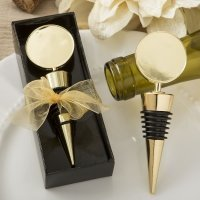 Perfectly Plain Collection Gold Metal Wine Bottle Stopper Fa