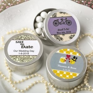 Personalized Wedding Expressions Brushed Silver Mint Tins image
