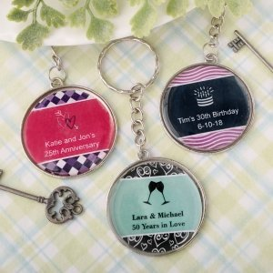 Personalized Occasions Epoxy Dome Metal Key Chain Favors image