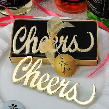 Metal Cheers Gold Finish Bottle Opener Favor image