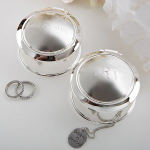 Engraved Glorious Silver Round Hinged Jewel Box image