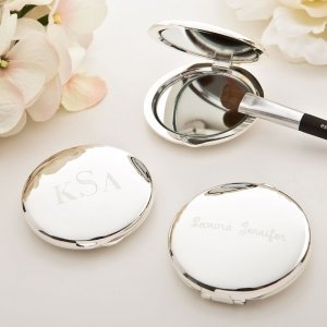Engraved Silver Plated Round Compact Mirror image