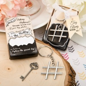 Hashtag Love Silver Metal Key Chain Favors image