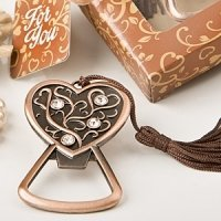 Antique Copper Heart Bottle Opener Wedding Favors