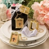 Holy Bible Gold Key Chain Favor