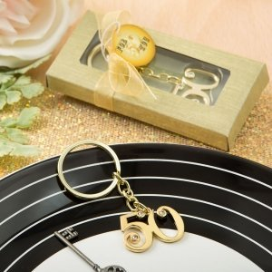 50th Design Gold Metal Key Chain Favors image
