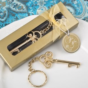Key To My Heart Collection Gold Metal Key Chain Favors image