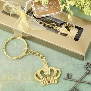 Gold Metal Crown Design Key Chain Favors image