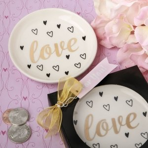 Love White Ceramic Jewelry Change Dish Favors image