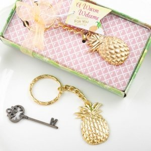 Warm Welcome Pineapple Themed Gold Metal Key Chain Favors image