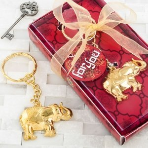 Gold Metal Good Luck Elephant Key Chain Favors image