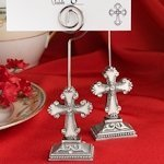 Elegant Cross Place Card Holders with Enamel Inlay