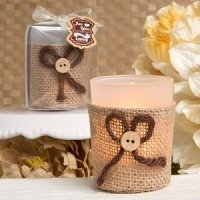 Rustic Burlap Votive Candle Holders