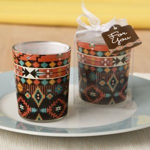 Aztec Design Glass Votive Candle Holder Favors image
