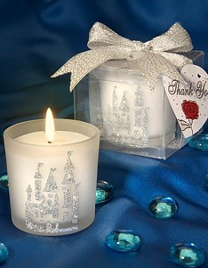 Glass Votive Candle Holder with Silver Castle Design image