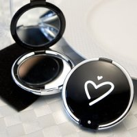 Contemporary Heart Design Compact Mirror