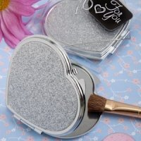 Shimmering Silver Heart Shaped Favor Compact Mirrors