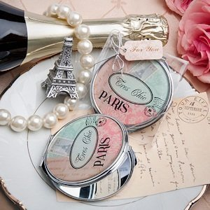 Pretty Paris Themed Compact Mirror Favor image