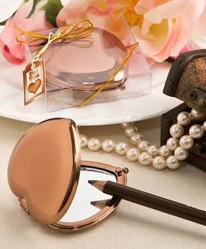 Bronze Metallic Heart Compact Mirror Favors image
