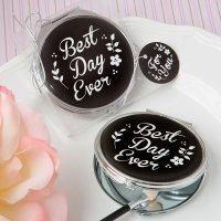 Best Day Ever Silver Metal Compact Mirror Favor