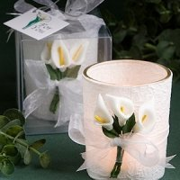 Calla Lily Design Wrapped Candle Favors