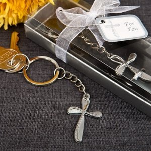 Beaded Metal Cross Key Chain Religious Favors image