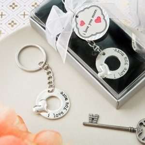 I Love You More Silver Metal Key Chain Favors image