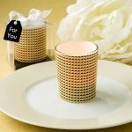 Modern Graphic Design Glass Gold Candle Votive Holder