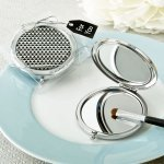 Modern Silver Graphic Design Compact Metal Mirror