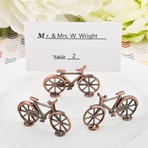 Vintage Bicycle Design Antique Copper Placecard Holder image