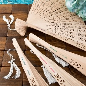 Intricately Carved Personalized Sandalwood Fan Favors image
