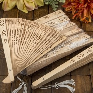 Intricately Carved Sandalwood Fan Favors image