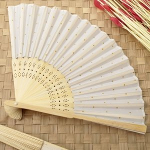 Gold Dot Silk Folding Fan Favor image