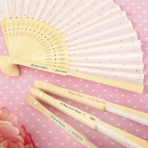 Personalized Wedding Gold Dot Silk Folding Fan Favors image