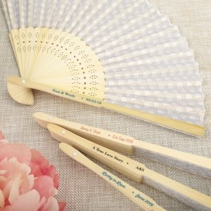 Personalized Wedding Silver Scallop Folding Fan Favors image