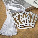 Regal Crown Princess Favor Bookmarks with Silk Tassel