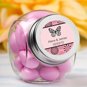 Personalized Glass Butterfly Party Favor Jars image