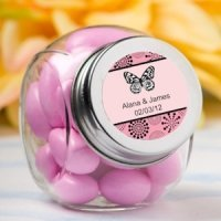 Personalized Glass Butterfly Party Favor Jars