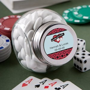 Personalized Casino Theme Glass Jar Favors image