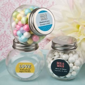 Personalized Marquee Design Candy Glass Jar Favors image