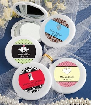 Personalized Wedding Mirror Compact Favors image