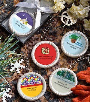 Holiday Party Personalized Key Ring Favors image