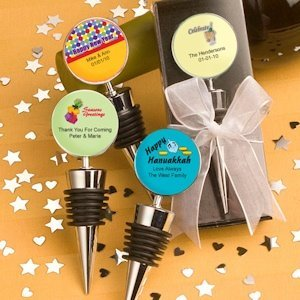 Personalized Holiday Wine Bottle Stopper Favors image
