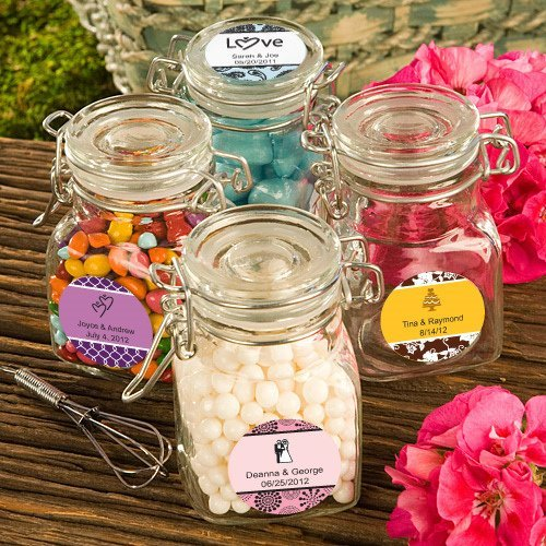 personalized apothecary jar wedding favors image samples shown