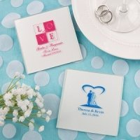 Silkscreened White Glass Coaster Wedding Favors