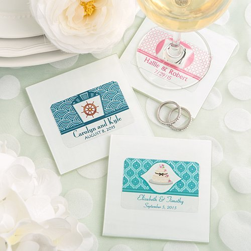 Personalized White Glass Wedding Coaster Favors