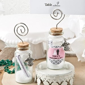 Personalized Wishing Glass Jar Place Card Holder image