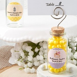 Personalized Glass Jar Place Card Holder Party Favors image