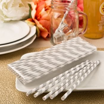 Perfectly Plain Matte Silver and White Stripe Paper Straw Pa image